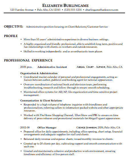 combination resume sample administrative client relations customer service