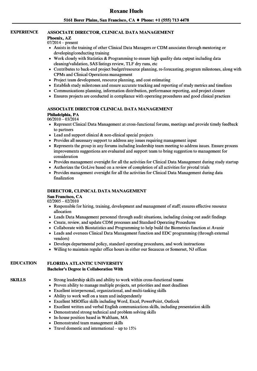clinical data management resume sample