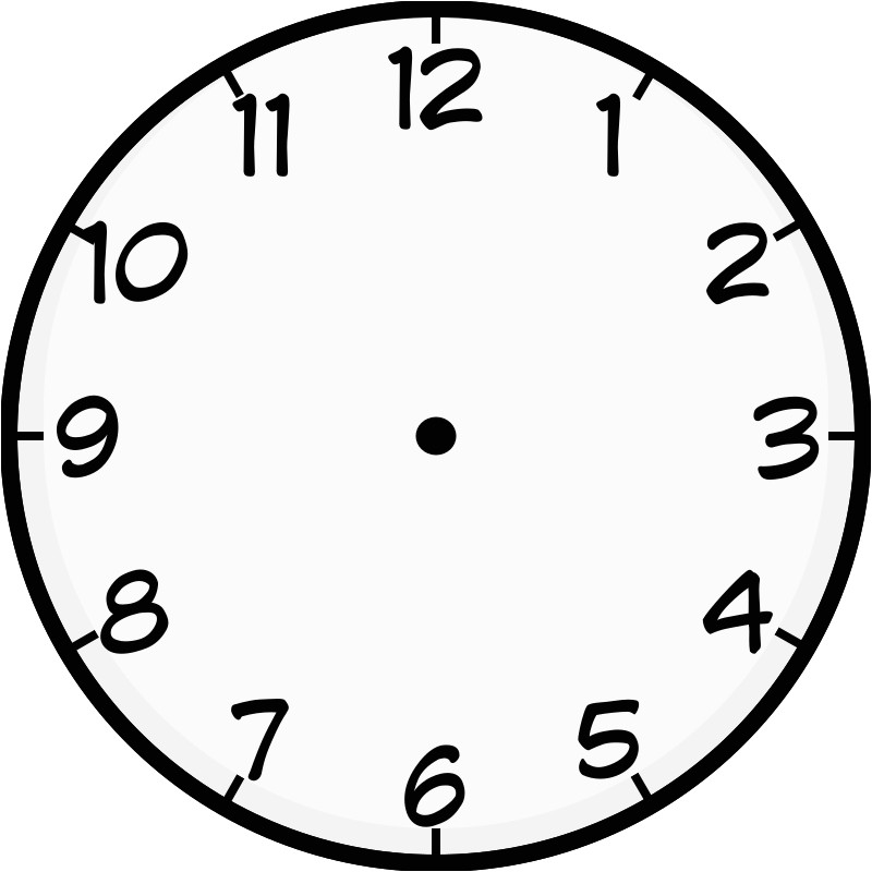 clock face image printable to learn telling time