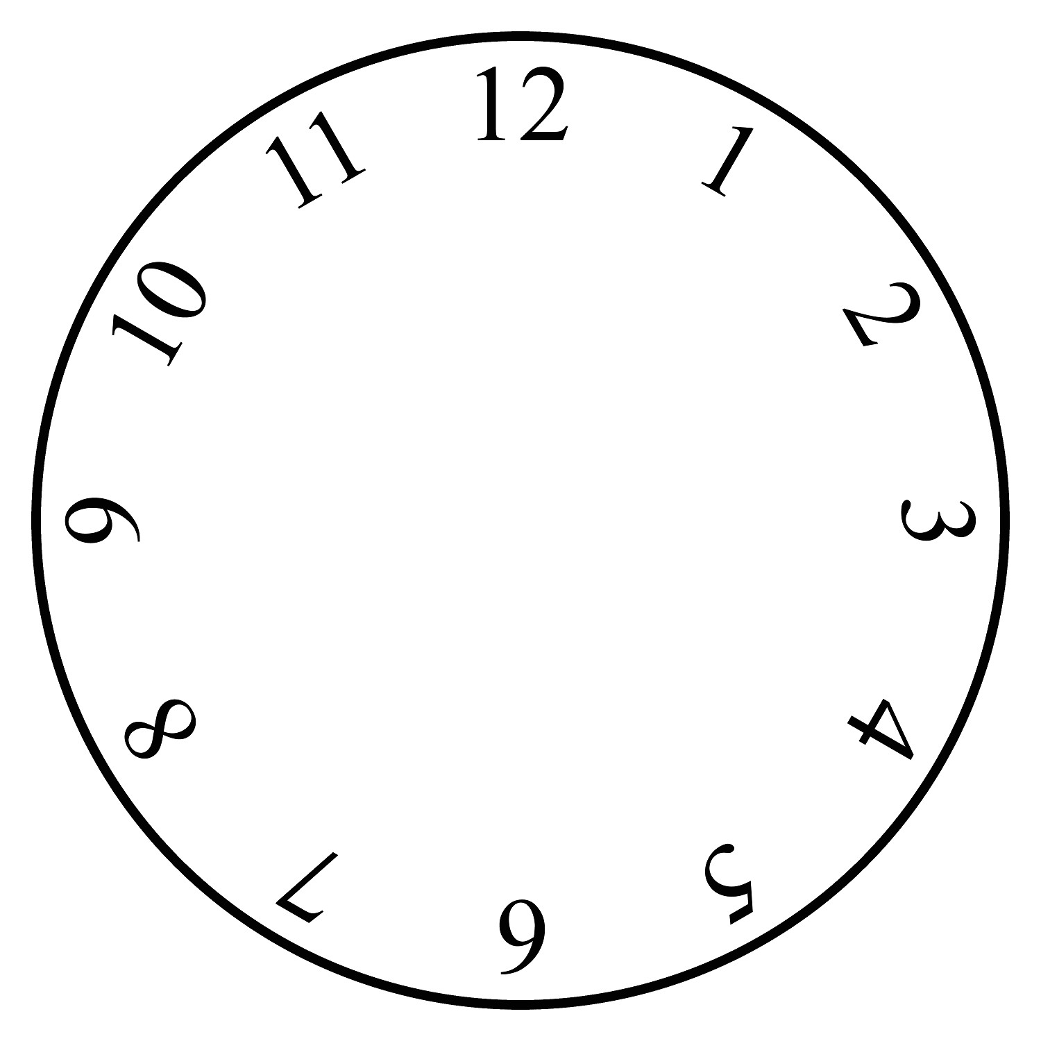 clock face template blank