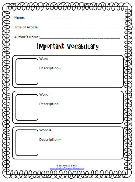 close reading planning template