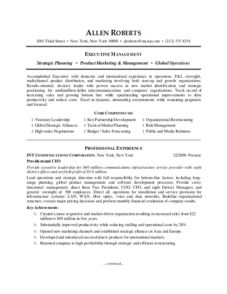 ceo resume sample 7638731