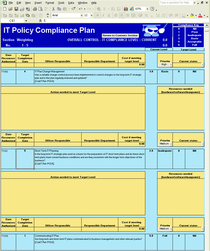 Cobit Templates Cobit Made Easy Cobit Compliance Plan Template