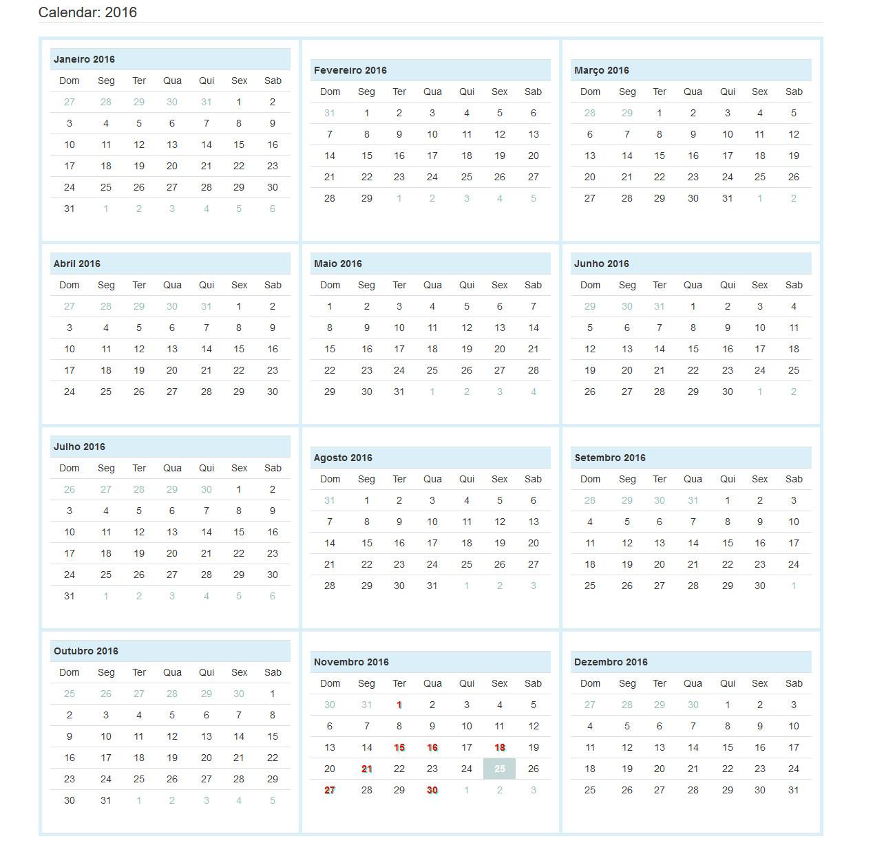 codeigniter calendaring class destacar o m c3 aas atual num calend c3 a1rio anual