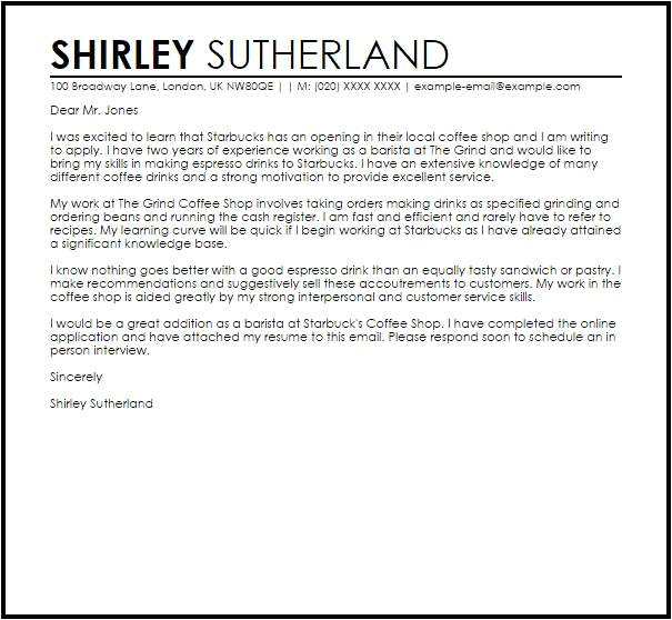 Coffee Barista Cover Letter Cover Letter for Coffee Shop Templates