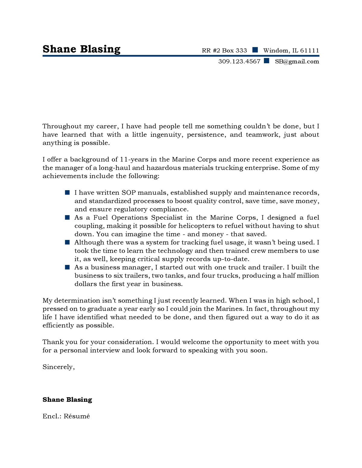 cold calling cover letter