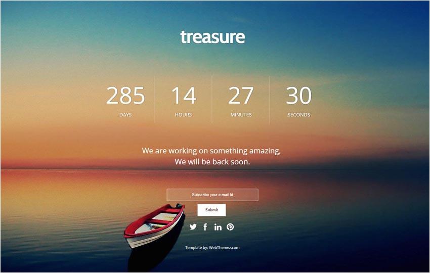 coming soon responsive web template treasure