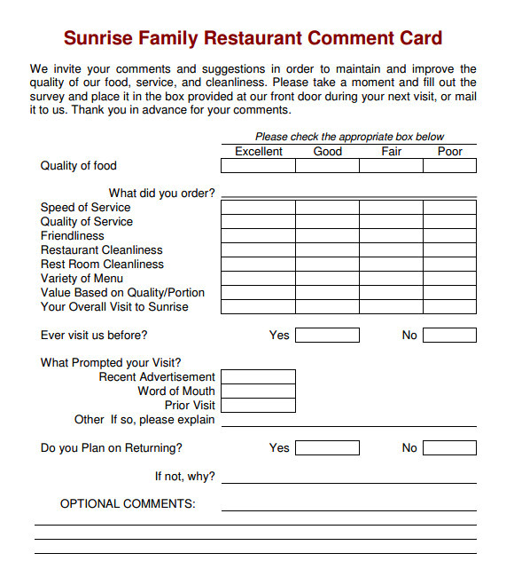comment card template