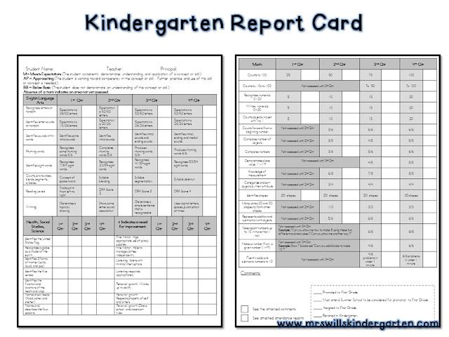 writing progress report for kindergarten
