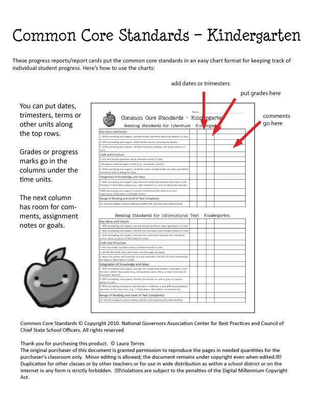 Common Core Report Card Template Printable Kindergarten Common Core Standards Party