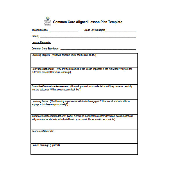weekly lesson plan template with common core standards