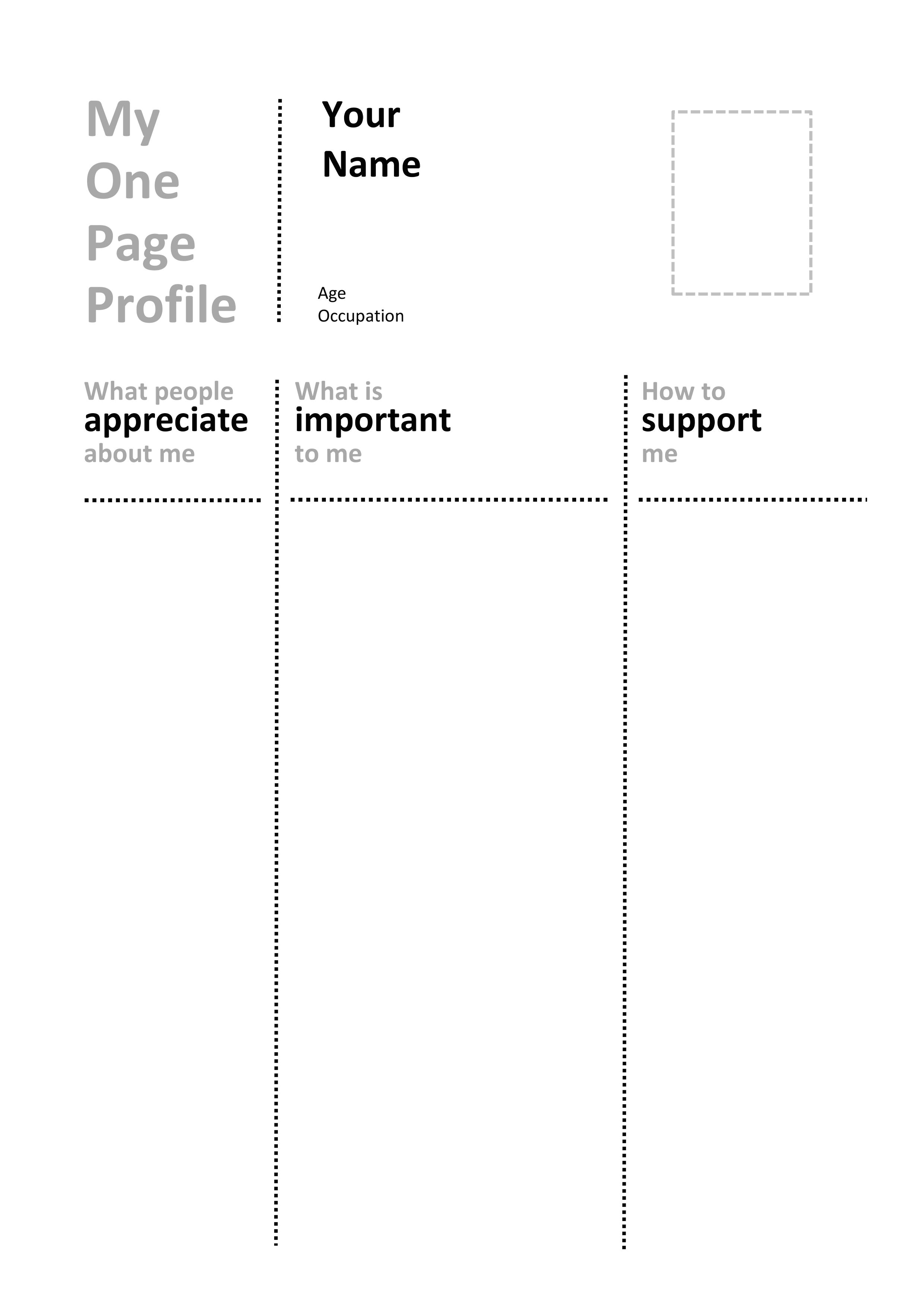 Communication Profile Template One Page Profile Templates Helen Sanderson associates