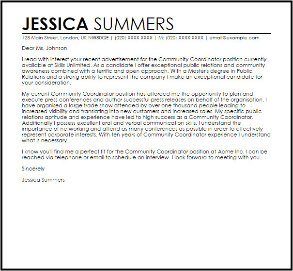 Community Relations Cover Letter Community Coordinator Cover Letter Sample Cover Letter