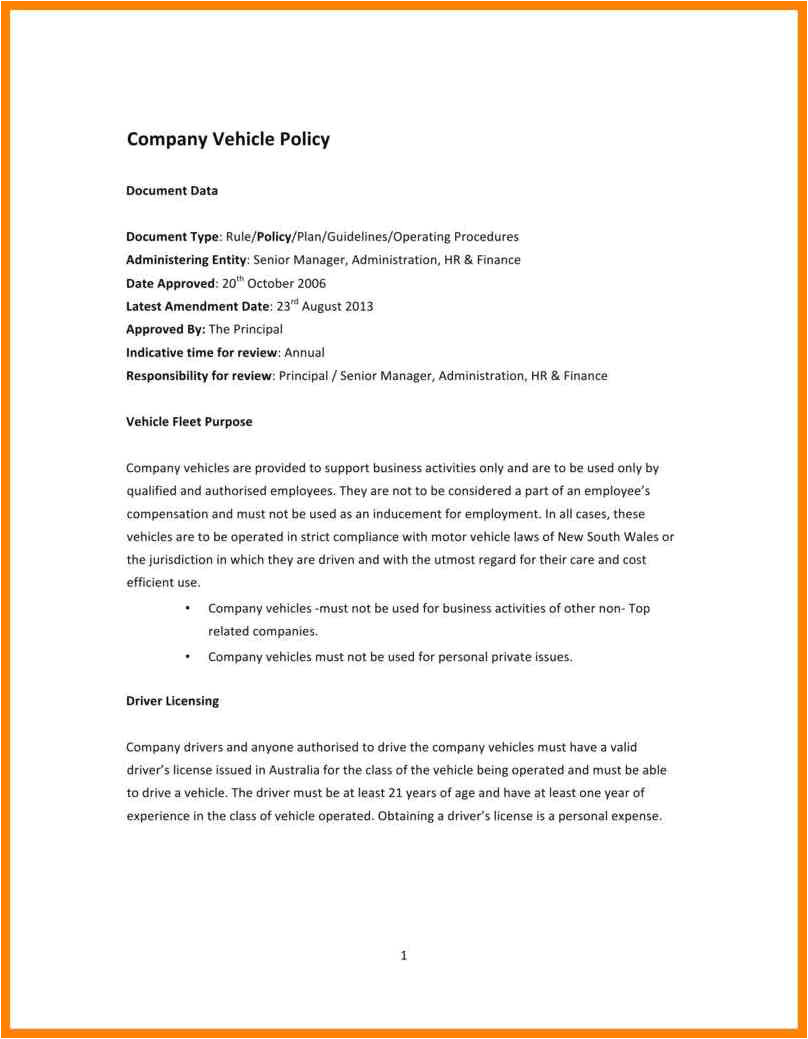 company driving policy template