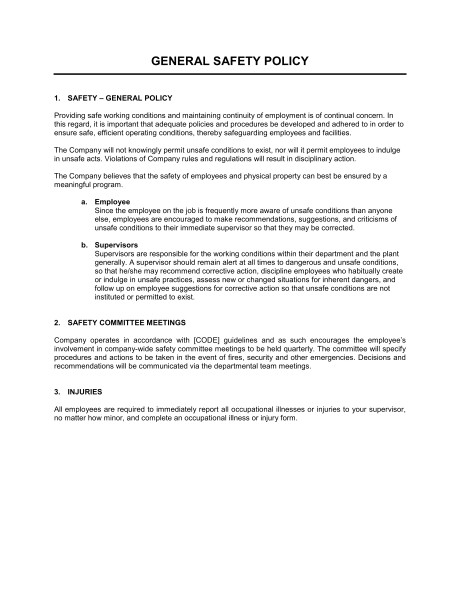 Company Driving Policy Template General Safety Policy Template Sample form Biztree Com