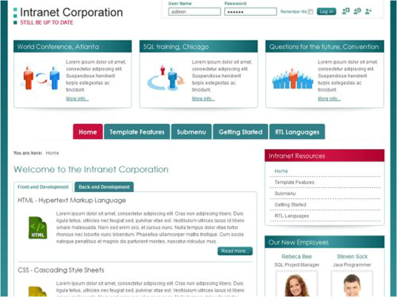 company intranet template download