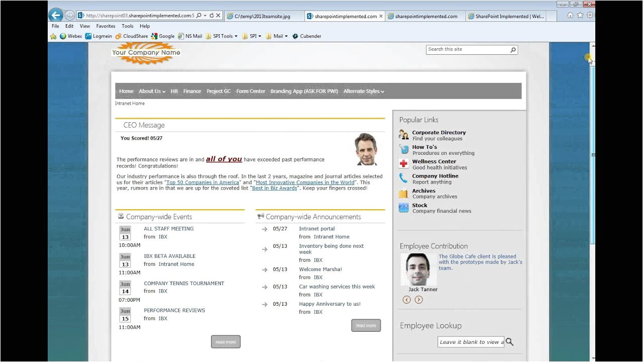 Company Intranet Template Sharepoint 2013 Intranet Examples Myideasbedroom Com