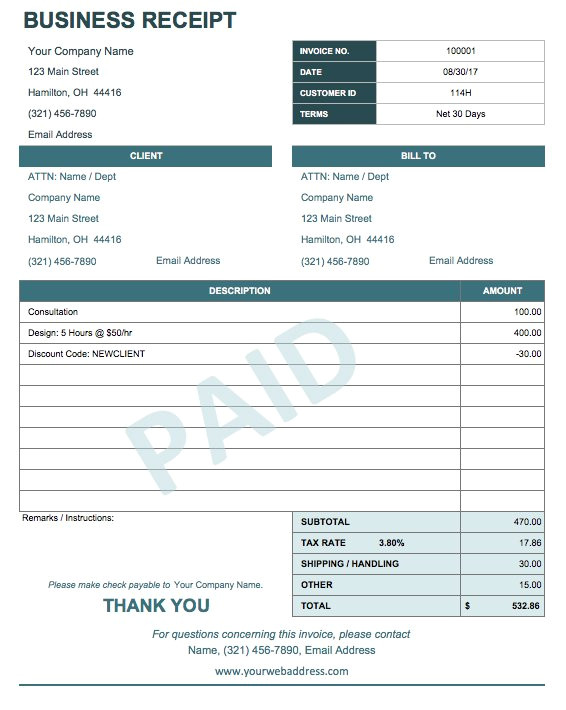Company Receipts Templates 13 Free Business Receipt Templates Smartsheet