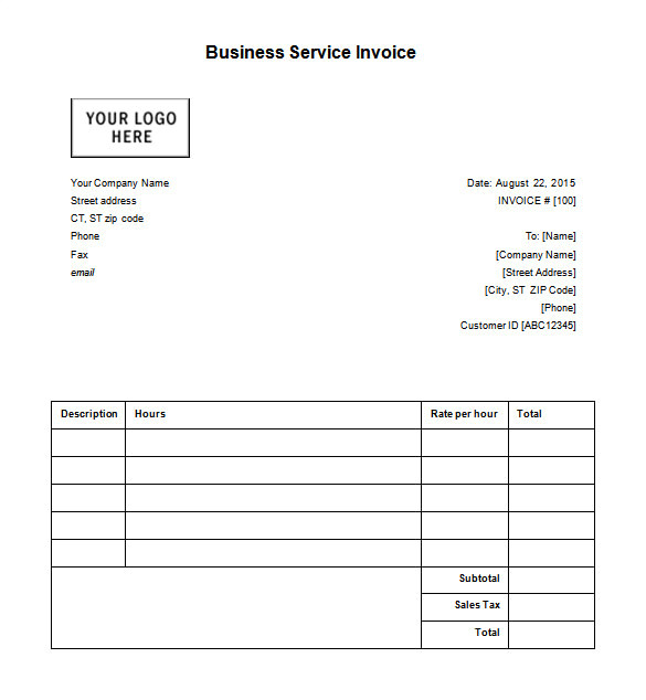 sample business receipt
