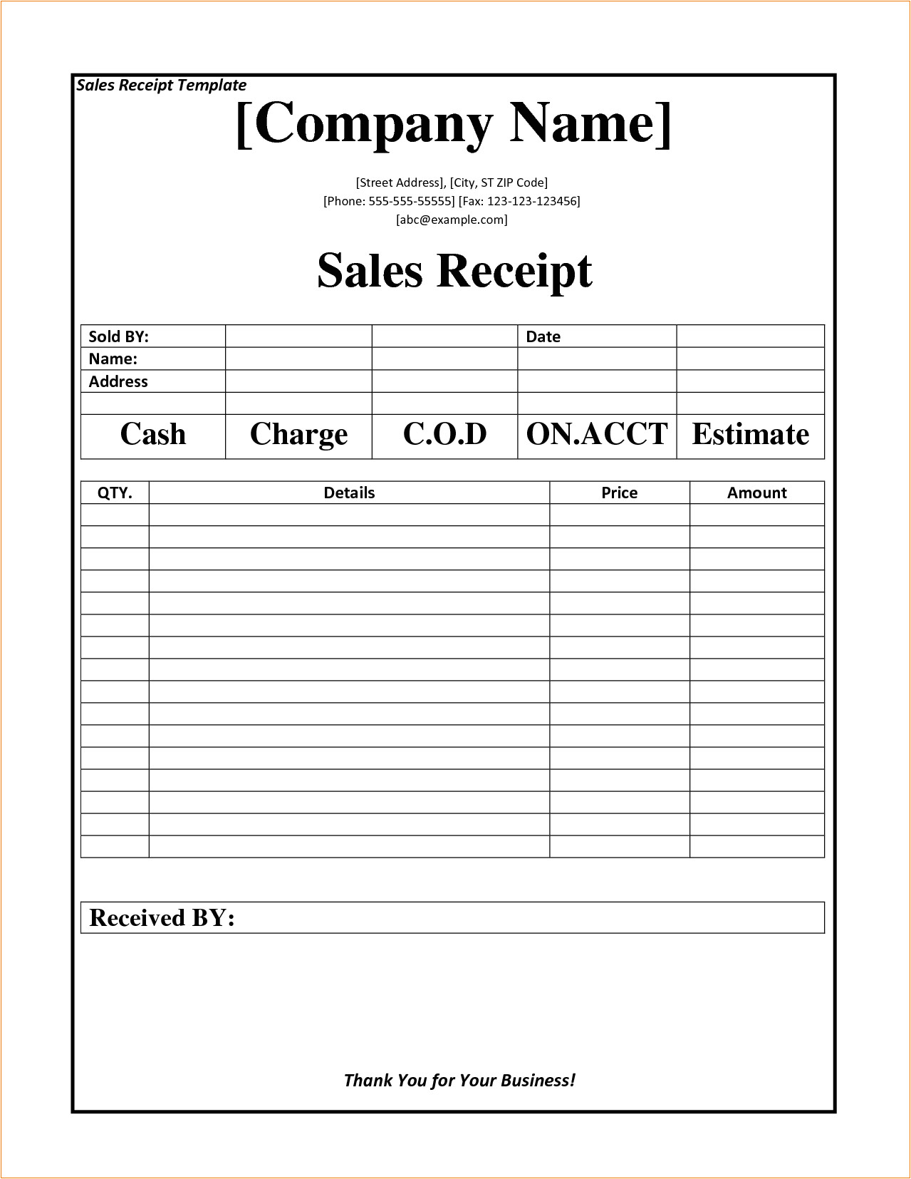 2 business receipt template