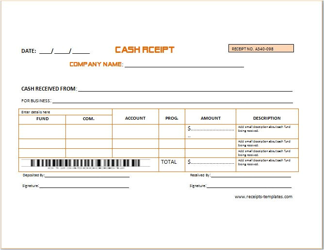 business cash receipt template 2