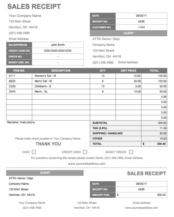 business receipt template 678