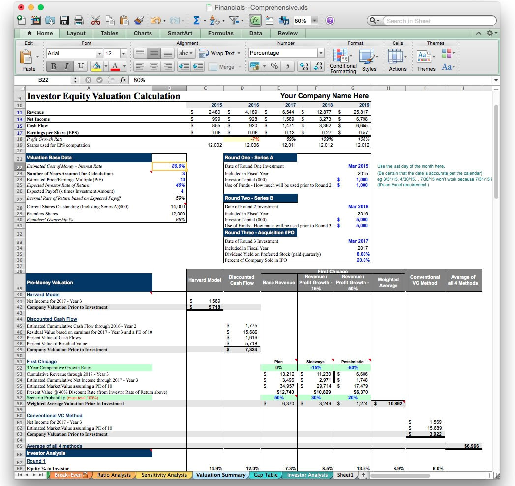 business plan software template excel financial projection model