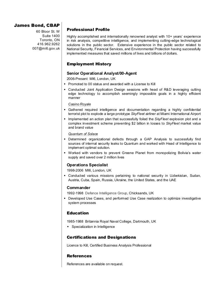 business analyst resume sample james bond 14849619
