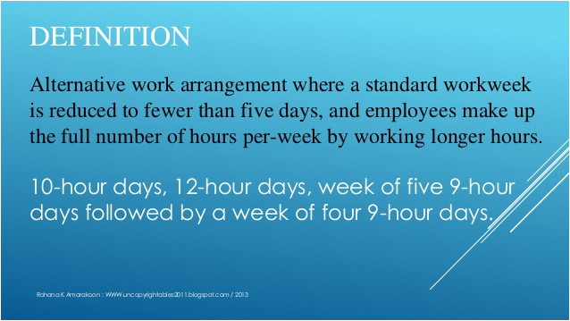 compressed workweek definition