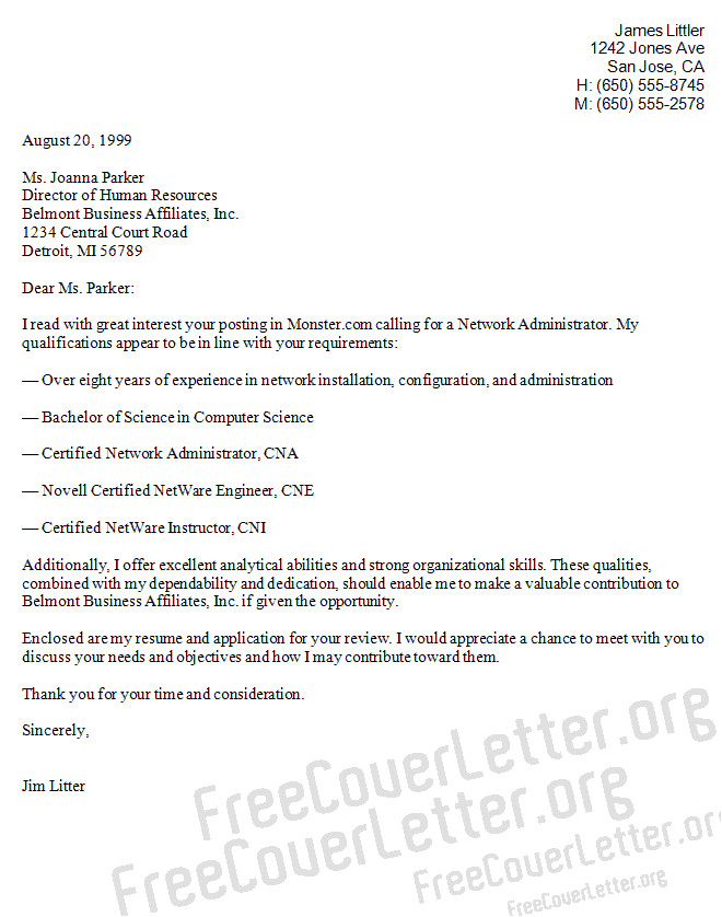 Computer Networking Cover Letter Network Administrator Cover Letter Sample