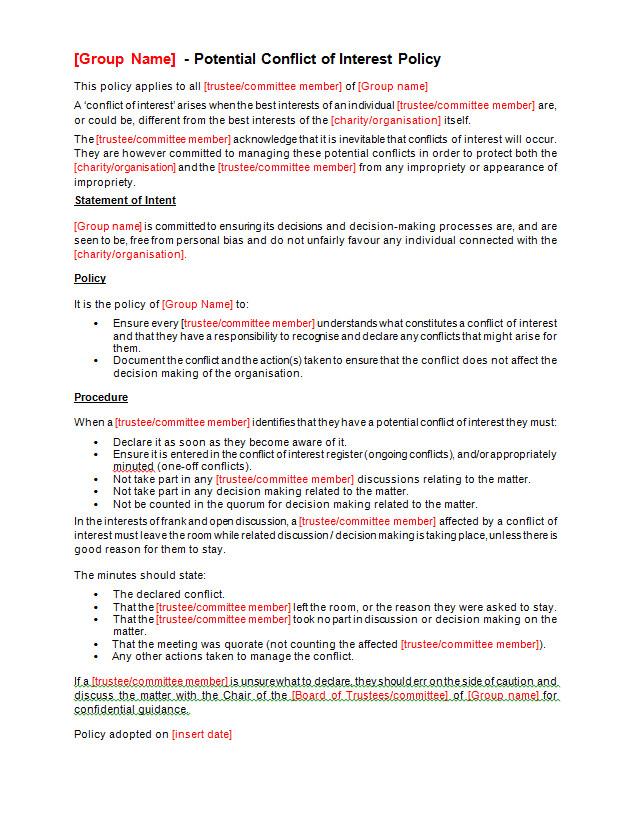 Conflict Of Interest Declaration Template Conflict Of Interest Policy Template Making Music