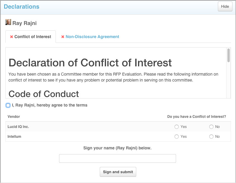 206811827 declaration module conflict of interest coi and non disclosure agreement nda