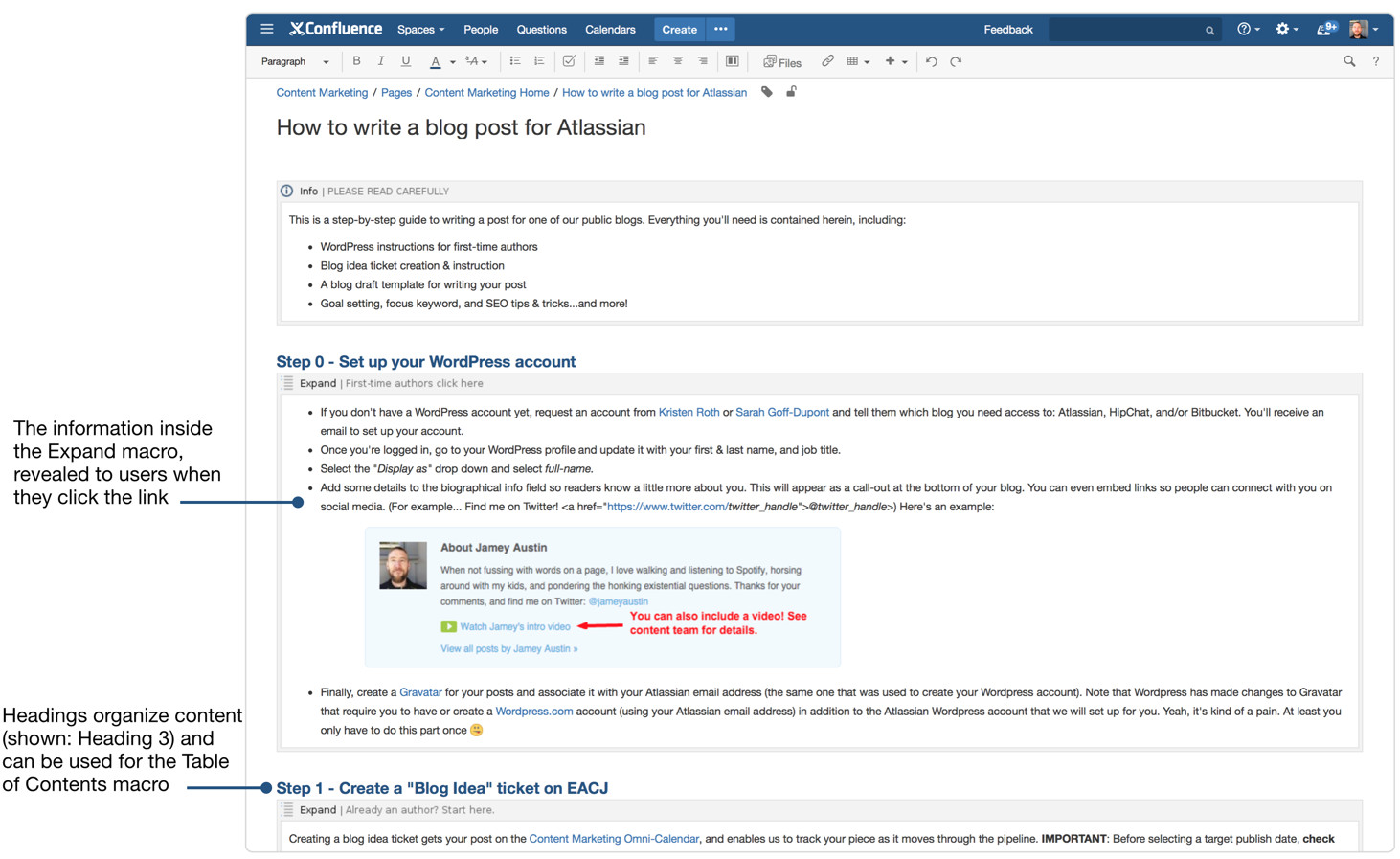 confluence for blogging