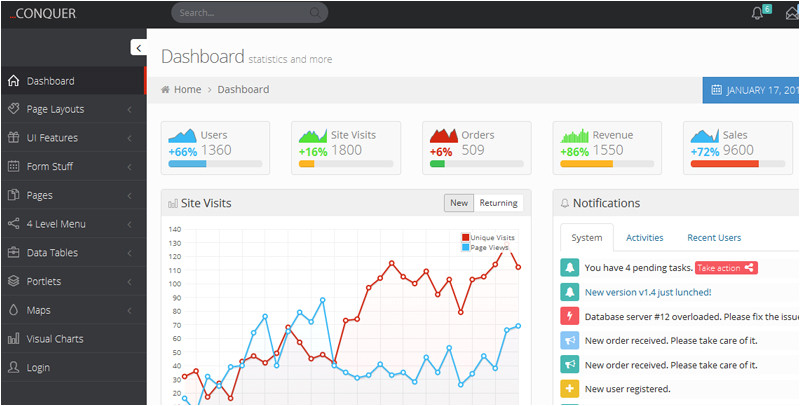 20 best free responsive admin dashboard templates