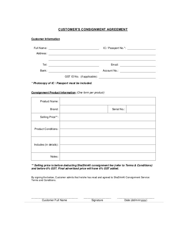 consignment agreements