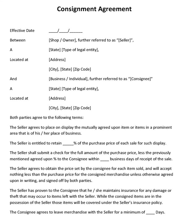 Consignment Shop Contract Template Consignment Contract Template 7 Free Word Pdf