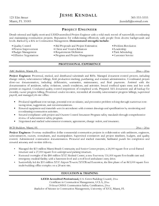 project engineer resume 625