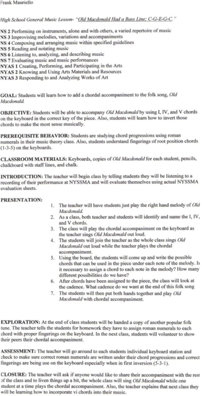 sample lesson plan 2