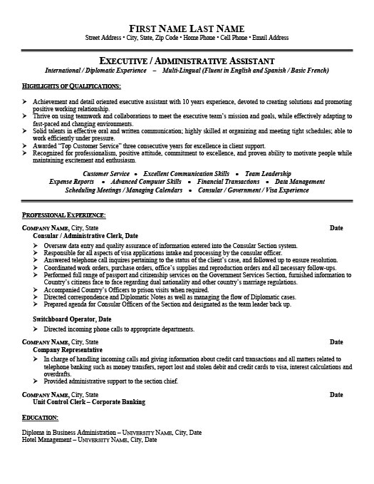 Consular assistant Cover Letter Consular or Administrative assistant Resume Template