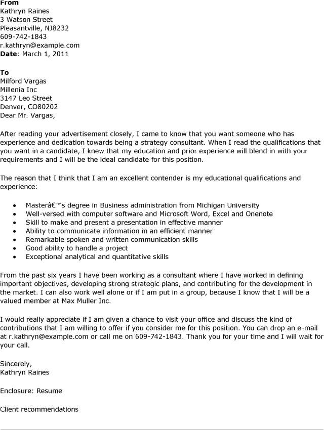 cover letter consulting sample