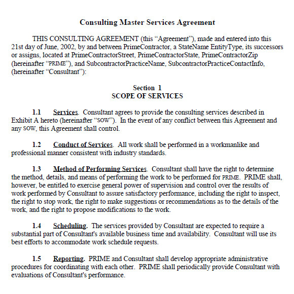 sample master service agreement