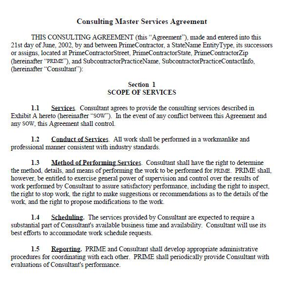 sample master service agreement