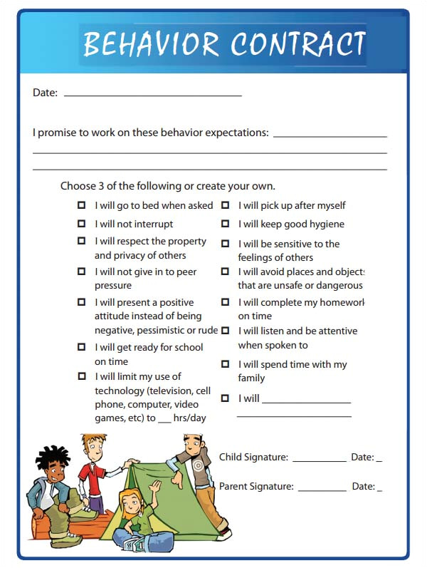 Contract Template for Kids 15 Behaviour Contract Templates Sample Templates