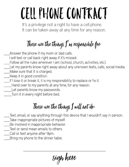 Contract Template for Kids Free Printable Technogly Contract for Teens Lesson Plans