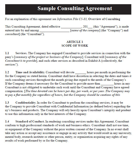 Contract Templates for Consultants 10 Sample Consulting Agreements Sample Templates