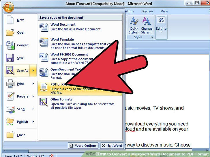 convert a microsoft word document to pdf format