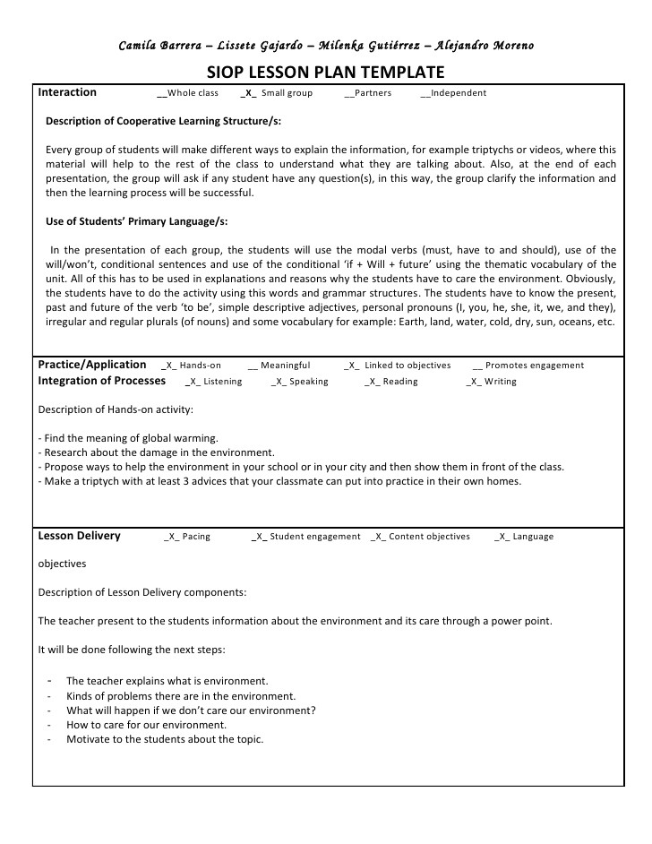 Cooperative Learning Lesson Plan Template Siop Unit Lesson Plan Template Sei Model