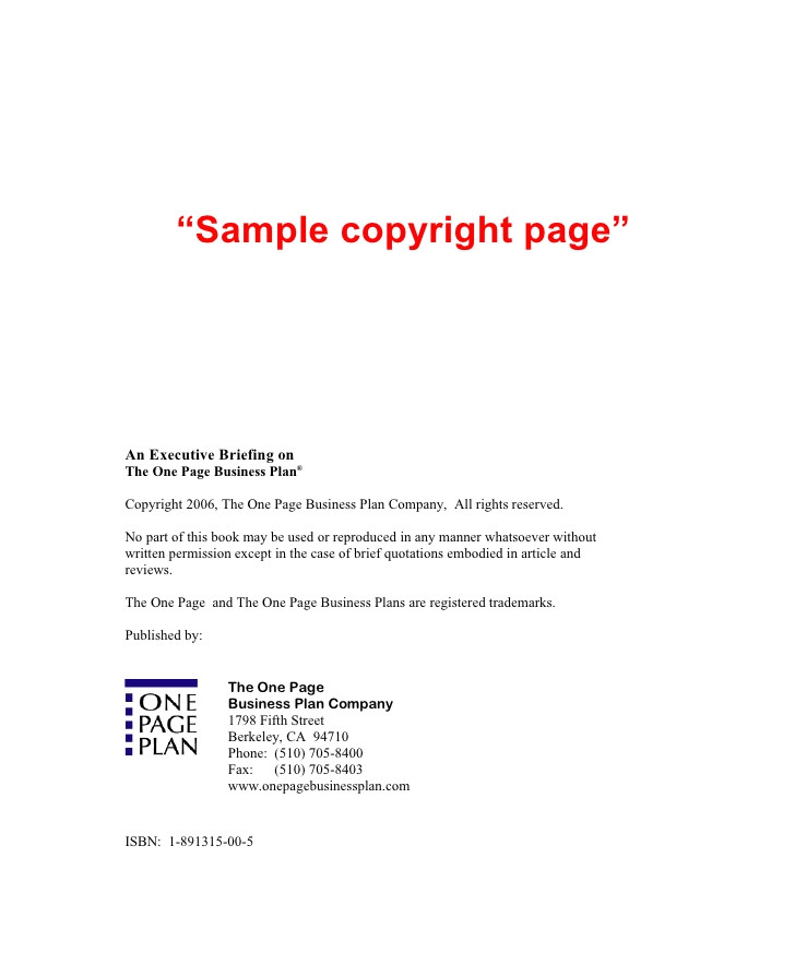 Copyright Template for Book Copyright Examples Related Keywords Copyright Examples