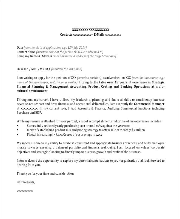 banking cover letter template