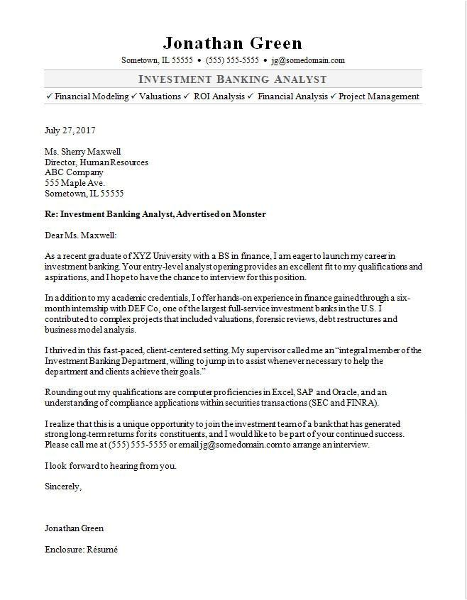 Corporate Banking Cover Letter Investment Banker Cover Letter Sample Monster Com